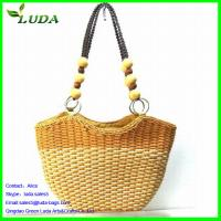 Cheap Contrast Color Wheat Straw Clutch Bags w/Beads Handles for sale