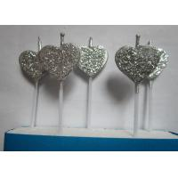 Cheap Silver Glitter Birthday Candles Heart - Shaped For Valentine'S Day Decoration wholesale