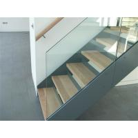 Buy cheap Simple Design Straight Wooden Staircase with Tempered Glass Railing / Double Beam Steel Stairs from wholesalers