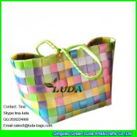 China LUDA colorful pp strap woven shopper bag plastic straw shopping bag on sale