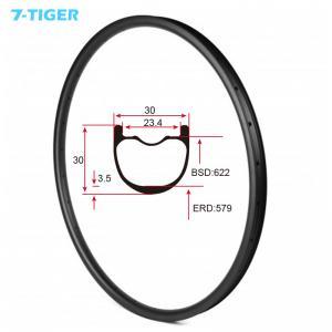 Cheap 7-tiger NEW 30 x 30 mm Width Carbon Fiber 29er Mountain Bike Clincher Rim Tubeless Compatible ud matte for sale