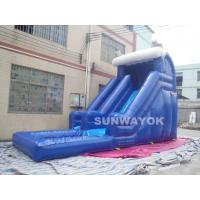 Cheap Blue Outdoor inflatable water slide with pool , Giant Inflatable Water Toys for sale