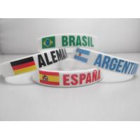 Cheap cheap promotional silicone wristbands with country flags imprinted world cup Brazil 2014 for sale