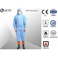 Cheap Non Woven Chemical Protective Clothing Full Face Two Way Zipper Bound Seams for sale