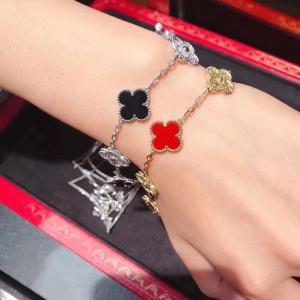 Cheap Custom 18K White Gold Diamond Van Cleef Vintage Alhambra Bracelet 5 Motifs brand jewelry china for sale