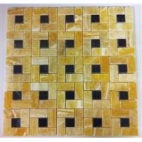 Cheap Honey Yellow Onyx with Black DOT Marble Mosaic Tile (Pin Wheel Pattern) for sale