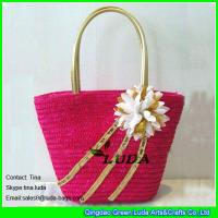 Cheap pink color straw totes flower decoration wheat straw bags for summer for sale
