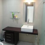 Cheap Semi-circle Drawer Phoenix Stone counter top black corner bathroom cabinet,SW-1174 for sale