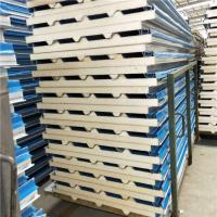 China 50mm corrugated blue PU (polyurethane ) foam core material cover with 0.426mm steel sheet both side on sale