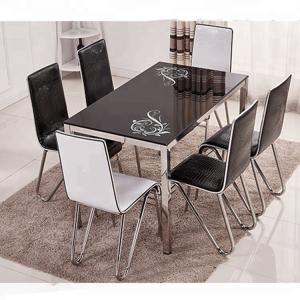 China Fashionable Glass Dining Room Sets Beige / Black / Blue / Pink Optional on sale