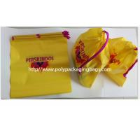 Cheap Yellow Color Pvc Custom Plastic Drawstring Bags For Cosmetic / Daily Necessities / Clothes for sale