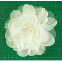 Cheap Handmade Mesh Flower,circle flower used chiffon and fibula in the bottom for sale