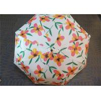 Auto Open 3 Fold Umbrella Travel Use With Flower Patterns Layer And Handle