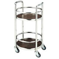 Cheap Restaurant Supply Equipment 2 Layer Liquor Trolley Round With 4 Swivel Castors for sale