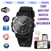 Cheap Y30 8GB 720P WIFI P2P IP Spy Watch Hidden Camera Recorder IR Night Vision Motion Detection Remote Video Monitoring for sale