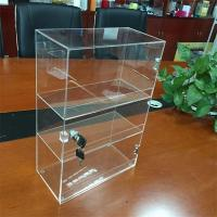 Cheap Customized clear 3 tiers counter acrylic display box with lock wholesale for sale