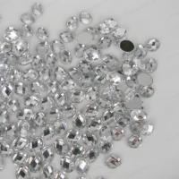 Cheap Custom Size Loose Silver Flat Back Rhinestone Beads 14 Facets Extremely Shiny for sale
