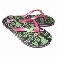 China Beach Flip Flops, Rubber Sole with PVC Strap, Harmless Materials, RoHS Directive-compliant on sale