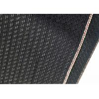 Cheap Black Cotton Selvage Jeans Herringbone Denim Fabric W3692 12.1oz With Embroidery for sale