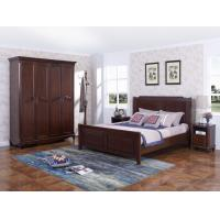 Cheap Rubber Wood Furniture Thailand solid wood King/Queen Bed in Leisure American style with Nightstand and Wardrobe for sale