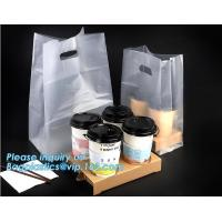 Disposable cup carrier bag, carry bag, cup handle bag, handy bag, die cut bag, handle carry bag, grocery bag, bakery pac
