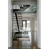 Cheap Inside straight staircase wooden stair with glass railing design for sale