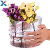 Cheap Waterproof Acrylic Flower Box Makeup Organizer Holder Round Shape ROHS Approval for sale