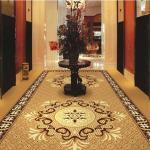 Cheap Brown Flower PVC Carpet Flooring / Corridor Wilton Patterned Carpets for sale