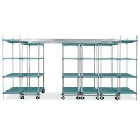 Buy cheap Overhead Head Track Shelving unit with 4 Adjustable Hygiene Polymer Shelves For from wholesalers