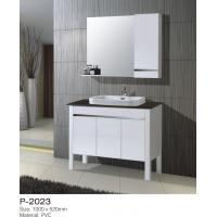 China Distressed PVC Bathroom Vanity Cabinets Floor Mounting Above Counter Ceramic Basin on sale