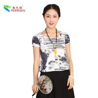 Cheap Chinese Culture Pattern Womens Casual Blouses T Shirt For Summer Beach Garden for sale