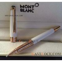 China Montblanc Meisterstuck White Solitaire Classique Rollerball Pen Rose Gold Mont blanc Pen Replica on sale