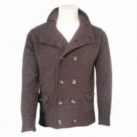 Cheap IKRR Men's Woolen Jacket/Cardigan, Comfortable and Fashionable, Warm, Comes in Brown for sale