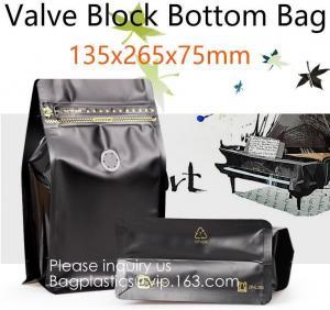 China Reusable Top k Square Box Flat Bottom Aluminum Foil Lined Plastic Kraft Paper bag with Window,250g 500g Custom Pla on sale