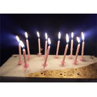 Cheap Candy Stripes Spiral Birthday Candles Pink Paraffin Wax With 20 pcs Holders for sale