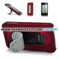 Cheap iphone 4S hard cases -42354 Hard Plastic Case Cover With Stand Holder For iPhone 4 - Red for sale