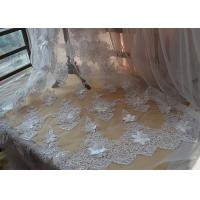 Cheap Ivory Embroidery Corded Sequin 3D Floral Lace Fabric For Bridal Wedding Dress for sale