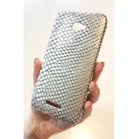 China For HTC Droid DNA Silver Metal Snake Leather Phone Case Cover Faceplate +Screen on sale
