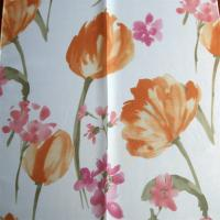 Buy cheap red flower design free sample window curtain transparent from wholesalers