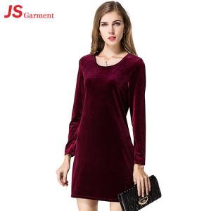 China 201014 Wholesale Lady Hot Style Plus Size Velvet One-piece Long Sleeves Bandage Dresses on sale
