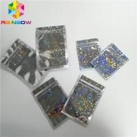 China Hologram Foil Pouch Packaging Heat Seal Star Flash Mylar Plastic Three Side Seal Zipper Bag on sale