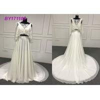 Cheap Luxurious A Line Ball Gown Wedding Dress With Mesh Long Train 100% Real Photos for sale