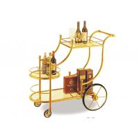 Cheap Big Wheel Room Service Equipments Wine Serving Cart Mirror - Gold Finish Fire - Proof Laminated for sale