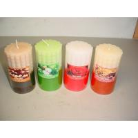 Cheap 100% paraffin wax scented pillar candle with clear wrapping and printed label for sale