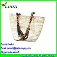 Cheap Natural Corn husk Straw Shoulder Bags w/Beads for Straw Beach Bag for sale