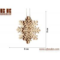 Cheap Laser plywood 3D snowflake ornament, Xmas tree decoration, wood shape craft supply, unpainted DIY Christmas, winter wood for sale