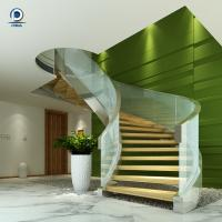 Cheap Prefabricated steel curved staircase with tempered glass balustrade for sale