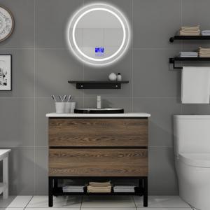 Cheap 100 Inch Modern Sink Vanity , Touch - Type Round Mirror Modern Bath Vanity for sale