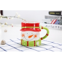 Cheap Hand Painted Three Dimensional 301CC Christmas Ceramic Mugs for sale