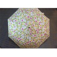 Cheap Manual Open Transparent 3 Fold Umbrella Pink Flower Printed 21 Inch 8 Ribs for sale